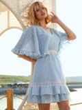 Расклешенное платье из хлопка с объемными рукавами голубое 54021, фото 3