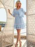 Расклешенное платье из хлопка с объемными рукавами голубое 54021, фото 2