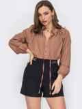 Свободная блузка с рюшей на воротнике и завязками бежевая 53290, фото 1