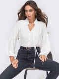 Свободная блузка с рюшей на воротнике и завязками молочная 53291, фото 1