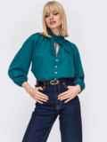 Свободная блузка с рюшей на воротнике и завязками бирюзовая 53292, фото 2