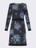 Принтованное платье с лампасами и юбкой-трапецией черное 52937, фото 3
