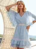 Расклешенное платье из хлопка с объемными рукавами голубое 54021, фото 1