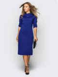 Платье полуприталенного кроя с шлевками тёмно-синее 54020, фото 2