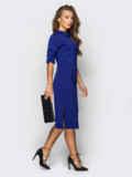Платье полуприталенного кроя с шлевками тёмно-синее 54020, фото 3