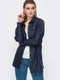 Рубашка прямого кроя с накладными карманами тёмно-синяя 45789, фото 2
