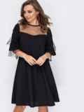 Вечернее платье-трапеция с фатиновой кокеткой черное 51928, фото 2