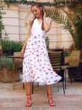 Белое платье-клеш из шифона с принтом и лифом из прошвы 54156, фото 2