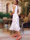 Белое платье-клеш из шифона с принтом и лифом из прошвы 54156, фото 4