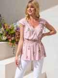 Хлопковая блузка розового цвета с принтом и баской 49130, фото 1