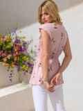 Хлопковая блузка розового цвета с принтом и баской 49130, фото 3