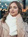 Базовый вязаный шарф молочного цвета 55390, фото 1