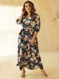 Платье большого размера приталенного силуэта синее 53729, фото 2