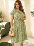 Платье большого размера с коротким рукавом зеленое 53728, фото 2