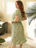 Платье большого размера с коротким рукавом зеленое 53728, фото 3