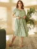 Платье большого размера с коротким рукавом зеленое 53728, фото 4