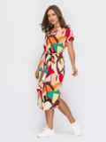 Платье прямого кроя с принтом красное 53927, фото 4