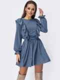 Короткое платье с рюшами по бокам голубое 52760, фото 2