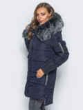 Тёмно-синяя куртка со съемным мехом на капюшоне 16704, фото 2