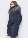 Тёмно-синяя куртка со съемным мехом на капюшоне 16704, фото 3
