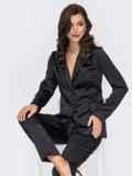 Брючный костюм из атласа чёрного цвета с жакетом 51705, фото 2