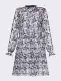 Расклешенное платье из шифона с принтом белое 53101, фото 6