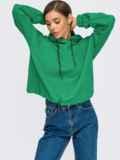 Худи свободного кроя с кулиской по низу зеленое 55097, фото 1