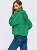 Худи свободного кроя с кулиской по низу зеленое 55097, фото 3