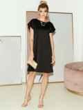 Приталенное платье из атласа с вырезом по спинке чёрное 51706, фото 2