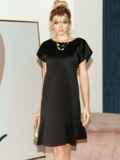 Приталенное платье из атласа с вырезом по спинке чёрное 51706, фото 3