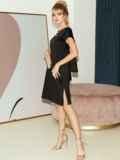 Приталенное платье из атласа с вырезом по спинке чёрное 51706, фото 4