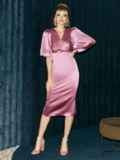 Розовое платье-футляр из атласа с расклешенными рукавами 51699, фото 2