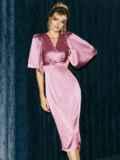 Розовое платье-футляр из атласа с расклешенными рукавами 51699, фото 4