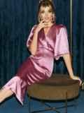 Розовое платье-футляр из атласа с расклешенными рукавами 51699, фото 5