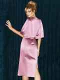 Розовое платье-футляр из атласа с расклешенными рукавами 51699, фото 6