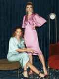 Розовое платье-футляр из атласа с расклешенными рукавами 51699, фото 7