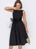 Чёрное платье-миди с фатиновым поясом 51932, фото 2
