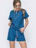 Льняной комплект синего цвета из блузки брюк 46991, фото 2