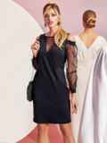 Полуприталенное платье с фатиновыми рукавами черное 11500, фото 2