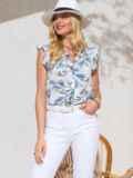 """Белая блузка из софта с принтом и рукавом """"крылышко"""" 49106, фото 1"""
