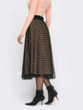 Расклешенная юбка-миди с фатином бежевая 55675, фото 3
