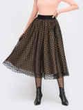 Расклешенная юбка-миди с фатином бежевая 55675, фото 2