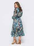 Голубое платье из шифона с принтом и юбкой клеш 53747, фото 5