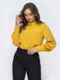 Горчичная блузка с воротником-стойкой 45039, фото 2