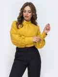 Горчичная блузка с воротником-стойкой 45039, фото 3