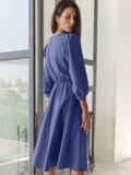 Синее платье-миди с вырезом и расклешенной юбкой 55195, фото 4