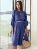 Синее платье-миди с вырезом и расклешенной юбкой 55195, фото 2