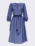 Синее платье-миди с вырезом и расклешенной юбкой 55195, фото 5