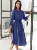 Синее платье-миди с вырезом и расклешенной юбкой 55195, фото 3