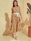 Бежевое платье в горох с американской проймой 53929, фото 2